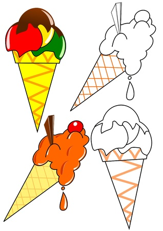 summer food: Coloring book - Ice cream Illustration