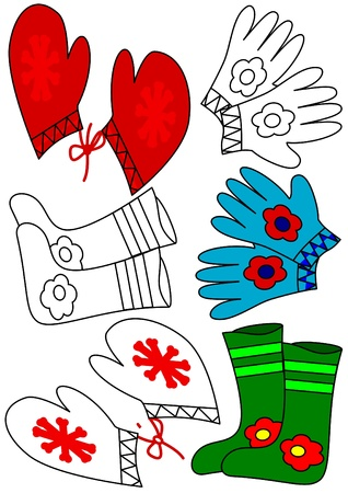 Winter clothing - coloring book Vector