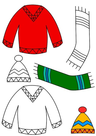 Winter clothing - coloring book Illustration