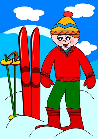 The boy in the mountains with skis  Vector