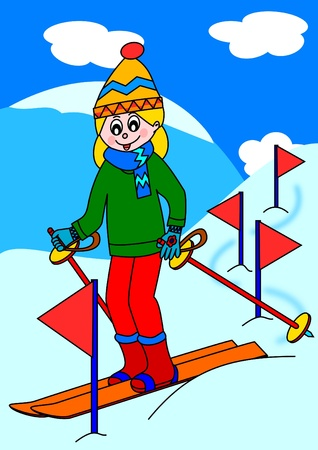 Girl skiing in the mountains  Vector