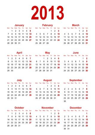 カレンダー 2013