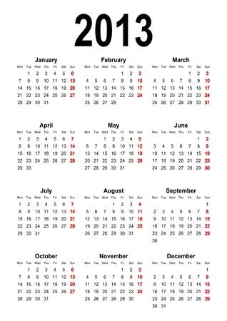 Calendar 2013 Stock Vector - 11810917