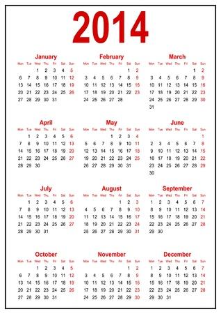 カレンダー 2014 年