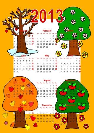 Calendar 2013, trees Vector