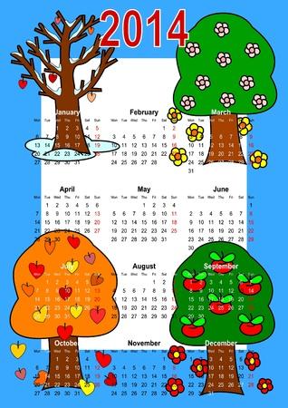 Calendar 2014, trees  Vector