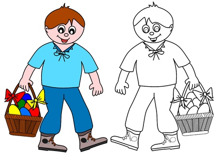 The boy carries a basket of colored eggs - coloring Vector