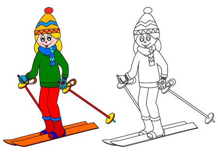 Girl on skis - a coloring book Vector