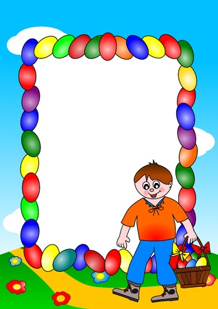 Easter wishes - a boy with a basket of colored eggs and Vector
