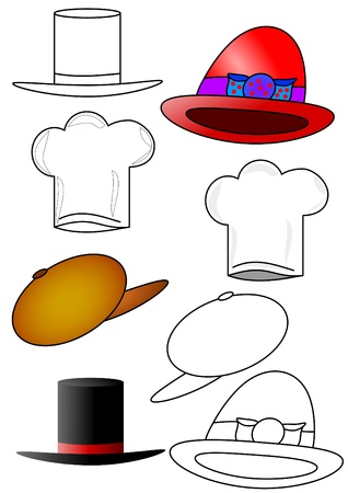 The various hats and caps as coloring books for children Vector