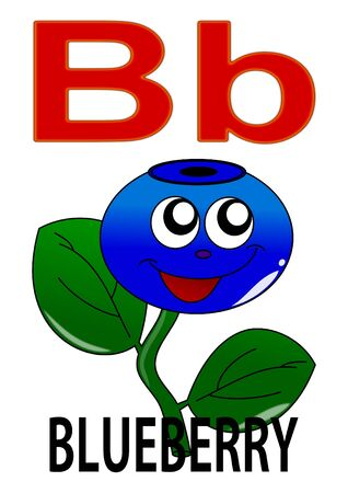 Letter B blueberry  Vector