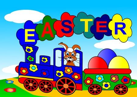 wood railroads: Easter bunny and train