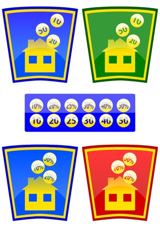 purchasing power: Colored icons with the theme of the house and money