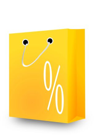 Shopping bag with a picture percent - illustration Vector