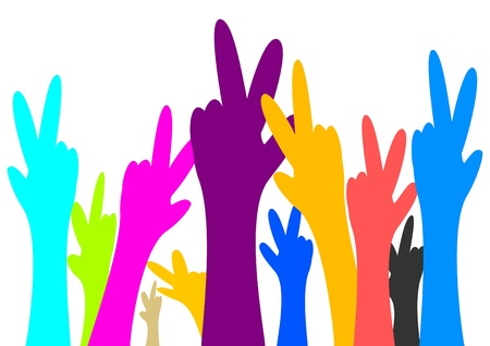 Many colorful hand victory as an illustration