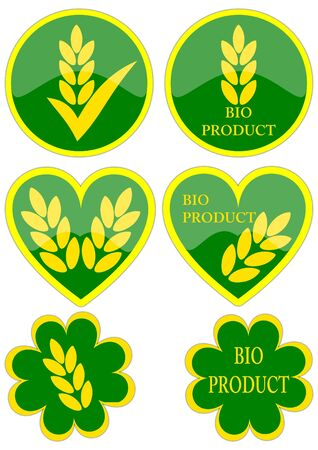 Different icons organic product as an illustration Vector