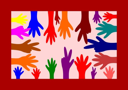 Many colored hands in color box Vector