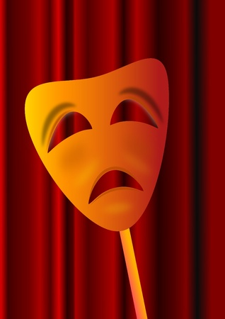 The sad theatrical mask the burgundy curtain Stock Vector - 12175628