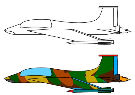 Military fighter aircraft - a coloring book  Vector