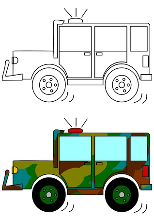 Masked military car with a beacon - a coloring book Vector