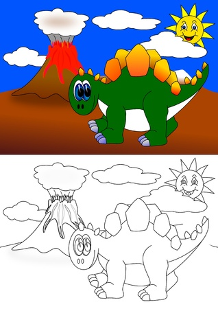 Dinosaur and Volcano-coloring books for children  Vector