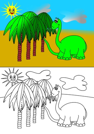 Dinosaur and palms - coloring books for children Vector