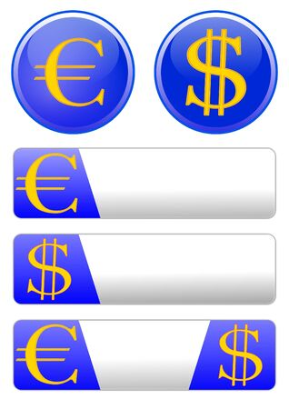 Different icons with the theme of the euro and dollar  Stock Vector - 12175654