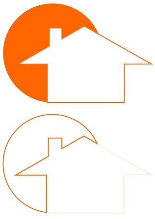 家とロゴ ・ イラストとして太陽  イラスト・ベクター素材