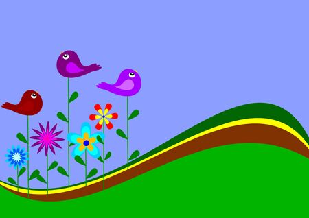 Colorful flowers and birds such as the desire  Vector