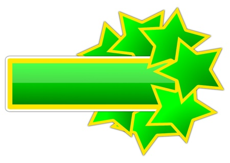 boom: Green and yellow icon with the stars as an illustration Illustration