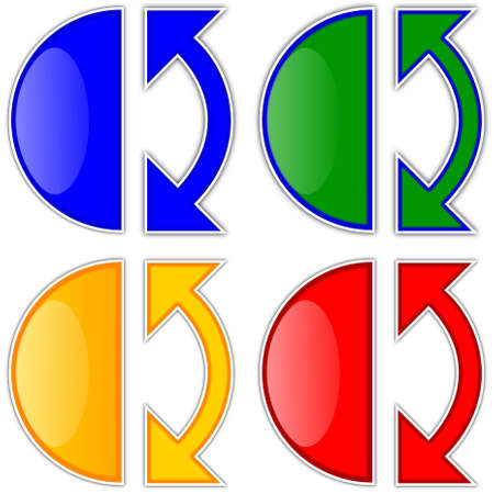 Colored arrows and semicircles as icons - illustration Illustration