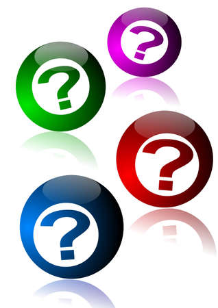 Colored billiard balls with question marks - Illustration Stock Vector - 12431154