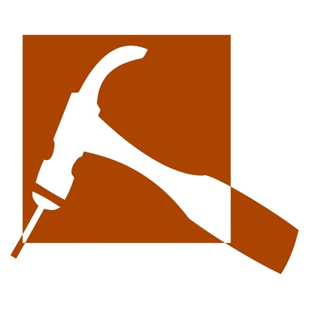 logotipo de construccion: Logo para los carpinteros y ebanistas - martillo - Ilustración Vectores