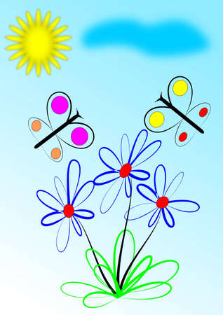 Butterflies and flowers in blue and white background - illustration Stock Vector - 12431161