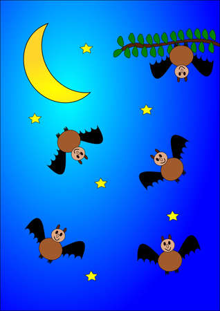 Many bats, stars and moon, as an illustration Stock Vector - 12431162