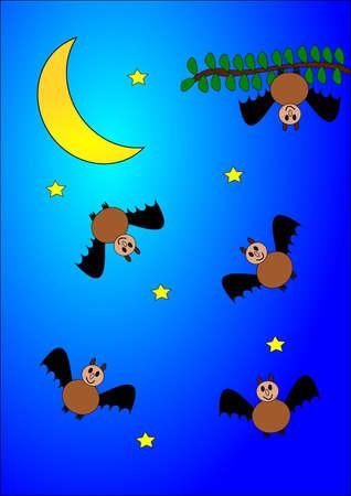 Many bats, stars and moon, as an illustration Vector