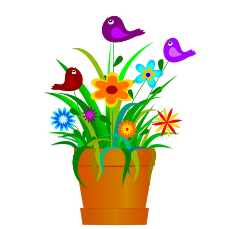 Pot full of colorful spring flowers and birds