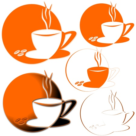 hot chocolate drink: A cup of coffee on an orange background Illustration
