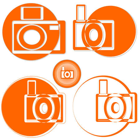 Camera on an orange background as an illustration Vector