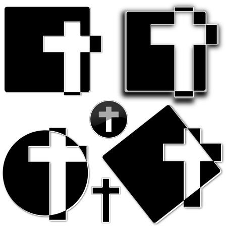 religion catolica: Cruz blanca sobre un fondo negro como una ilustraci�n