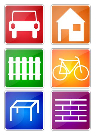 Many colorful icons with various themes to illustrate Vector