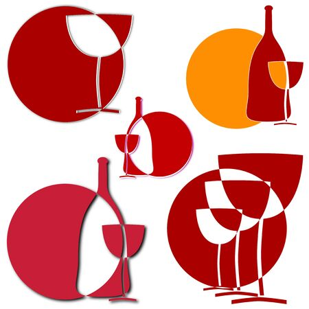 Wine glass sun in the background - as an illustration  Vector