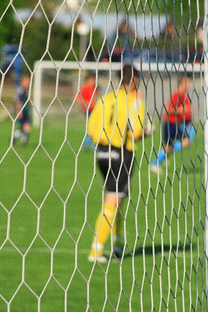 Soccer goal with nets and footballers Stock Photo - 15890288