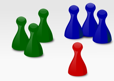 Colored playing pieces on a white background - illustration