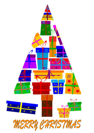 Christmas tree made up of gifts  Vector