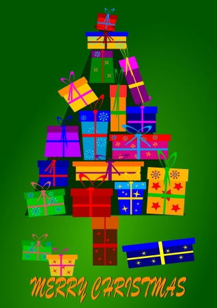 Christmas tree made up of gifts Stock Vector - 15996496