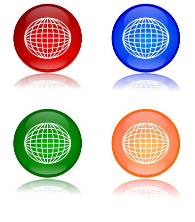 Colorful globes as buttons Stock Vector - 15996558
