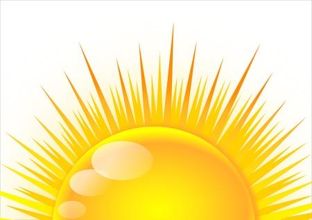 cartoon sun: Half of the sun at sunrise Illustration