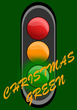 Green traffic lights for Christmas as an illustration Stock Vector - 16161311