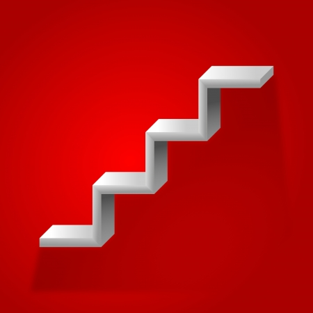 Police in the shape of stairs on a red background Illustration